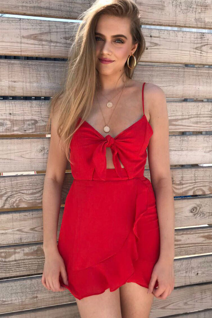 Red Front Knot Dress