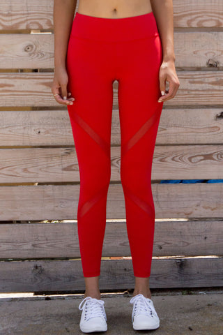 Red Cross Mesh Leggings