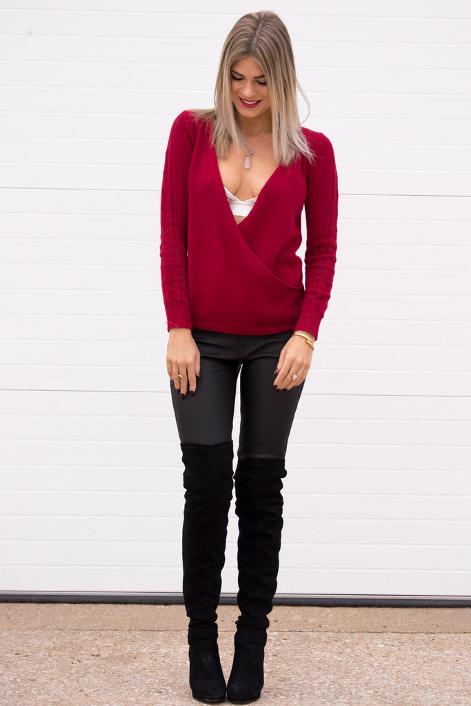 Olivia Knit Long Sleeve Sweater Top - Red
