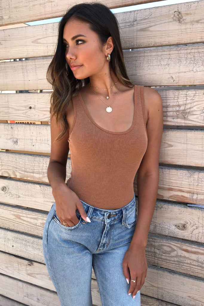 Mocha Ribbed Bodysuit