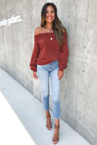 Dreamy Knit off the shoulder Rust sweater top