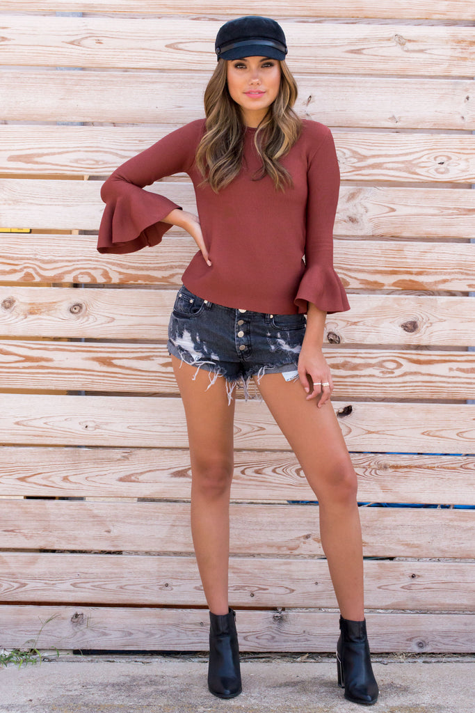 Risky Business Ruffle Top - Rust