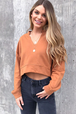 Simplicity V-Neck Crop Top Sweatshirt- Rust