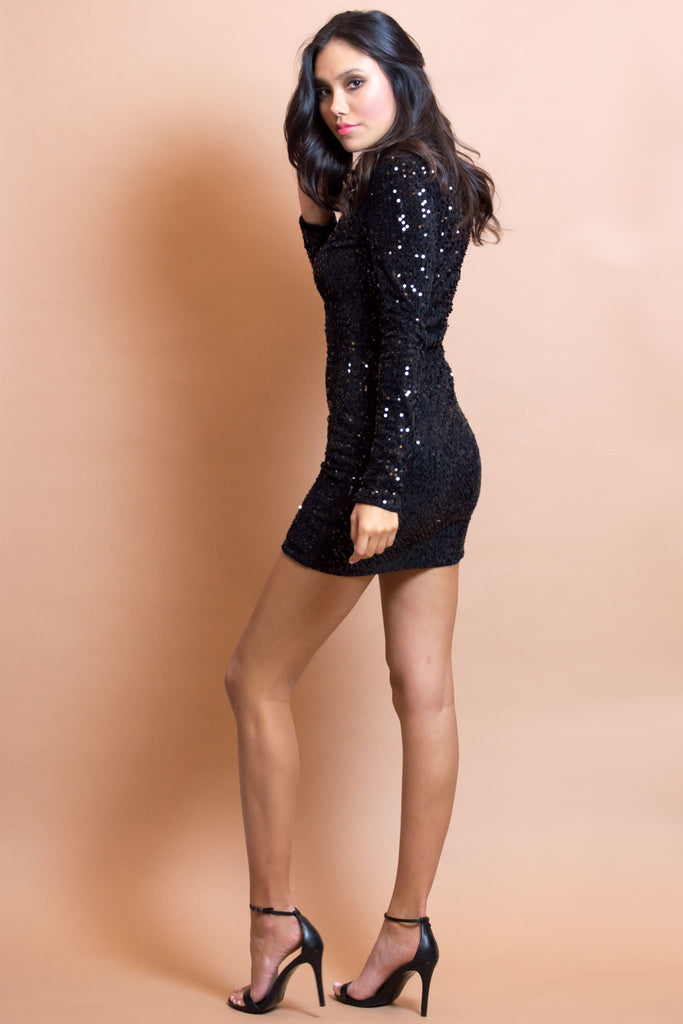 Tiana Black Mini Sequin Dress