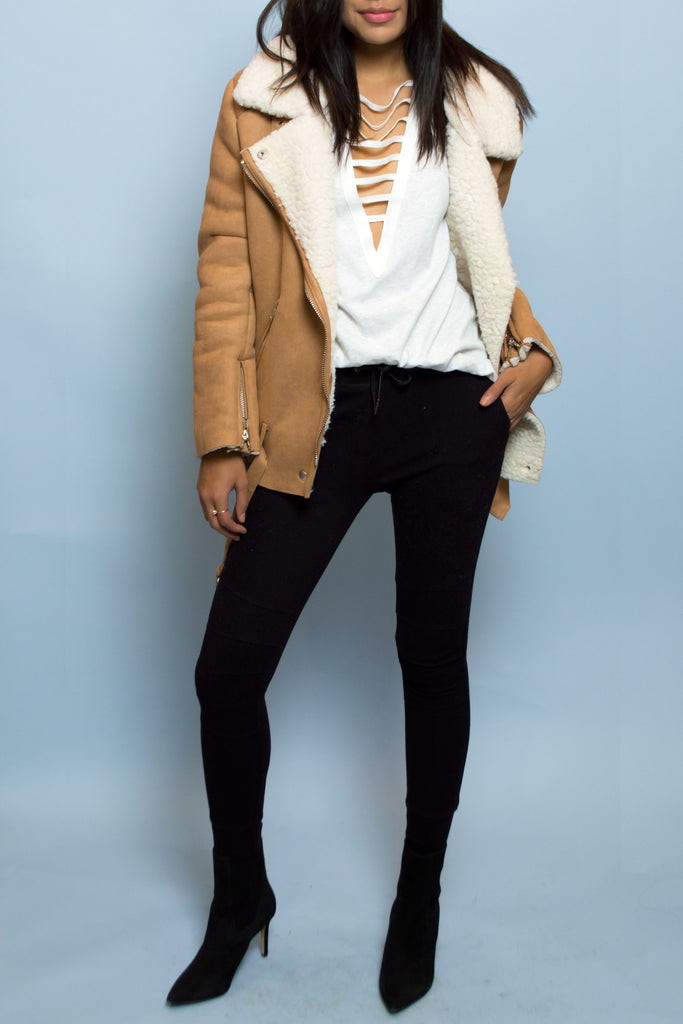 Faux Suede and sherling Camel Jacket