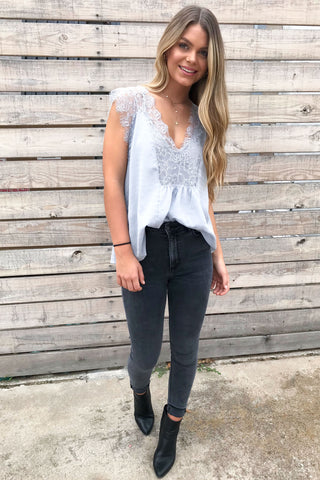 Kase Steel Grey Lace Tank Top