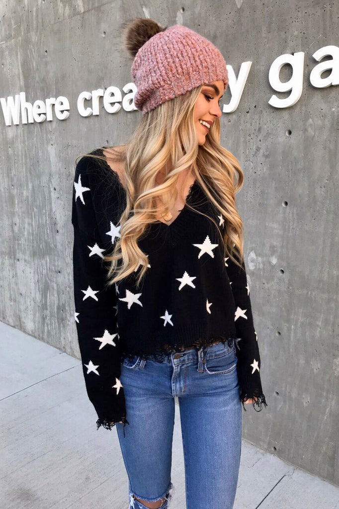 Starstruck Distressed V-Neck Sweater