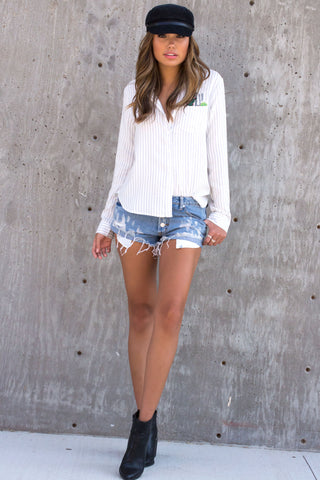Cactus Stripe Long Sleeve Top