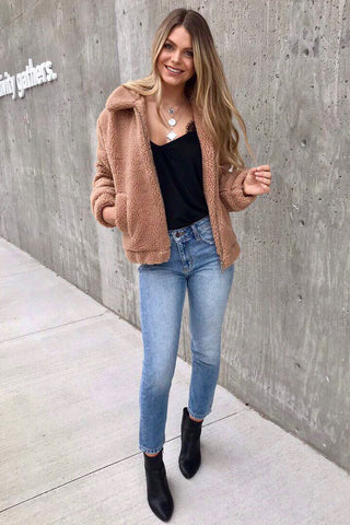 Iconic Pocketed Tan Sherpa Jacket