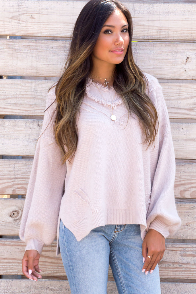 Avia Fuzzy Knit V-neck Sweater - Blush
