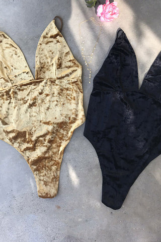 Jodi Velvet V-neck Bodysuit by Lace Lab Intimates