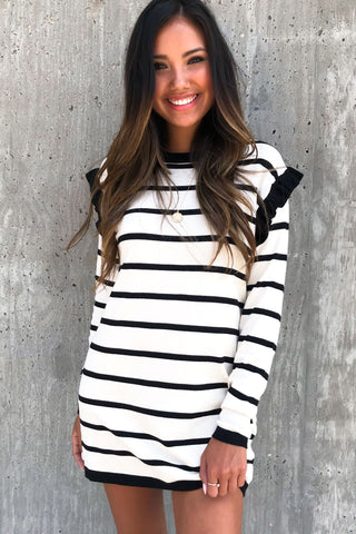 Delicately Yours Stripe Ruffle Knit Sweater Dress