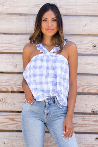 LANTANA Blue Ruffle Checker Top