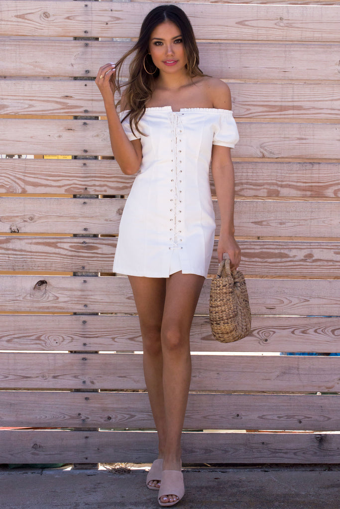 White Lace Up Denim Dress