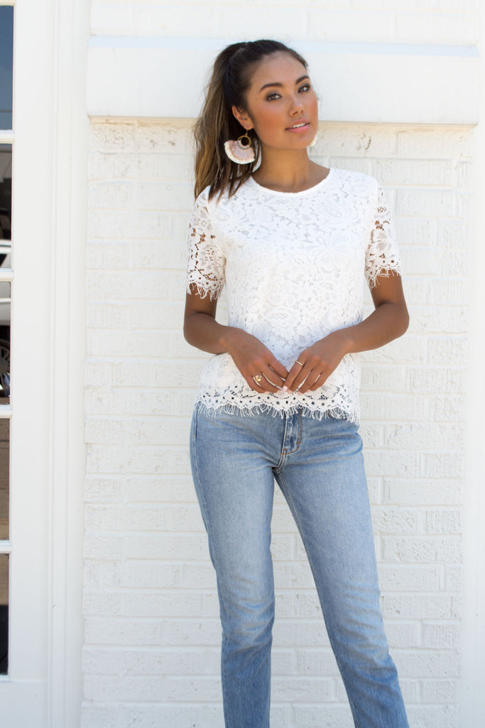 Venice White Floral Crochet Top