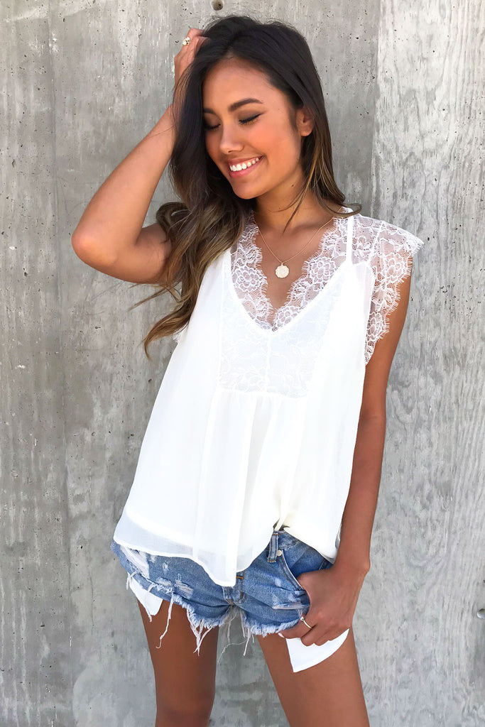 Kase White Lace Tank Top
