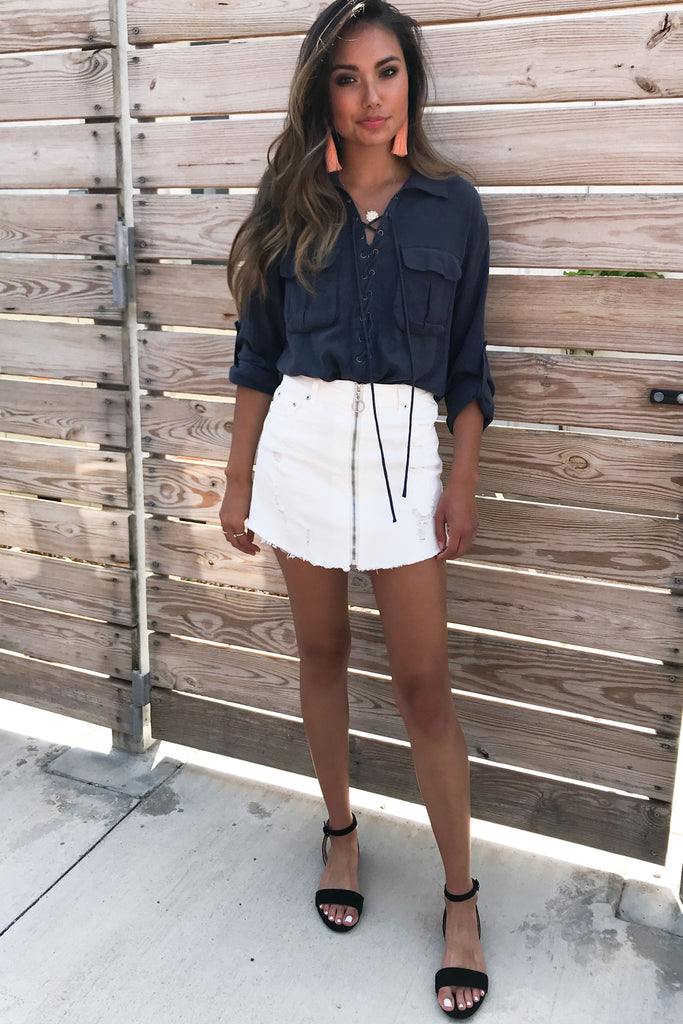 White Denim Zip-up Skirt