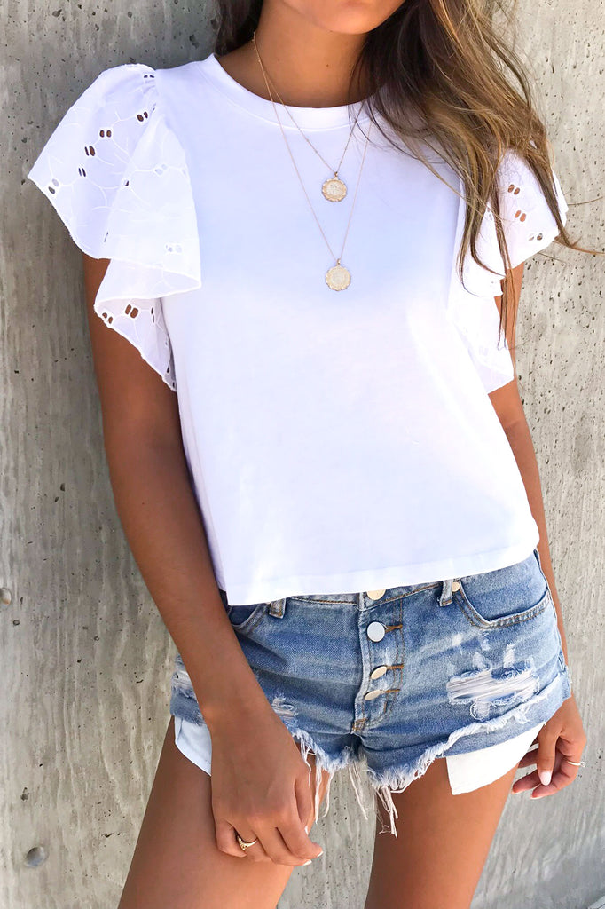 Karli White Eyelet Top