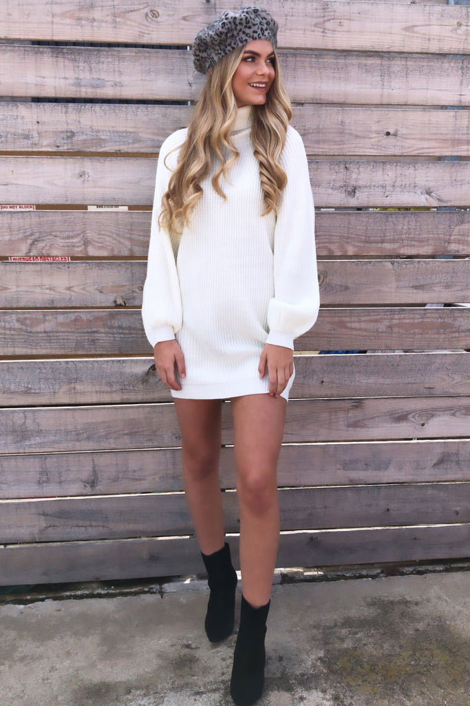 Serena White Turtle Neck Knit Sweater Dress