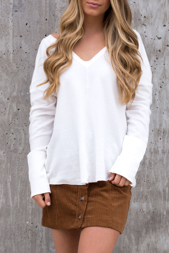 Tangled Knit Knot White Sweater Top