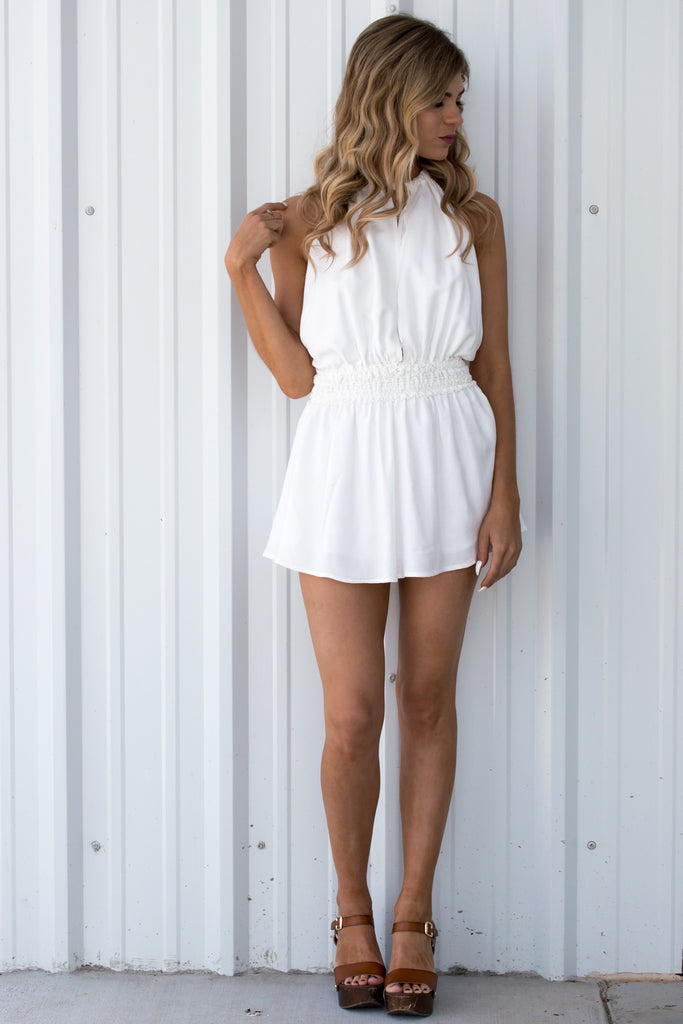 Raw Layne White Crochet Romper