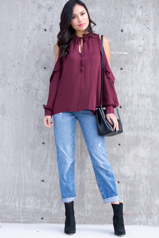 Chiara Open Shoulder Satin Wine Long Sleeve Top