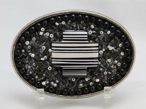 Belt Buckle with black and white cross