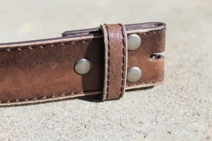 Distressed brown leather snap belt