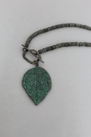 Reversible Pave Patina Leaf Necklace with Labradorite and Greek Leather.