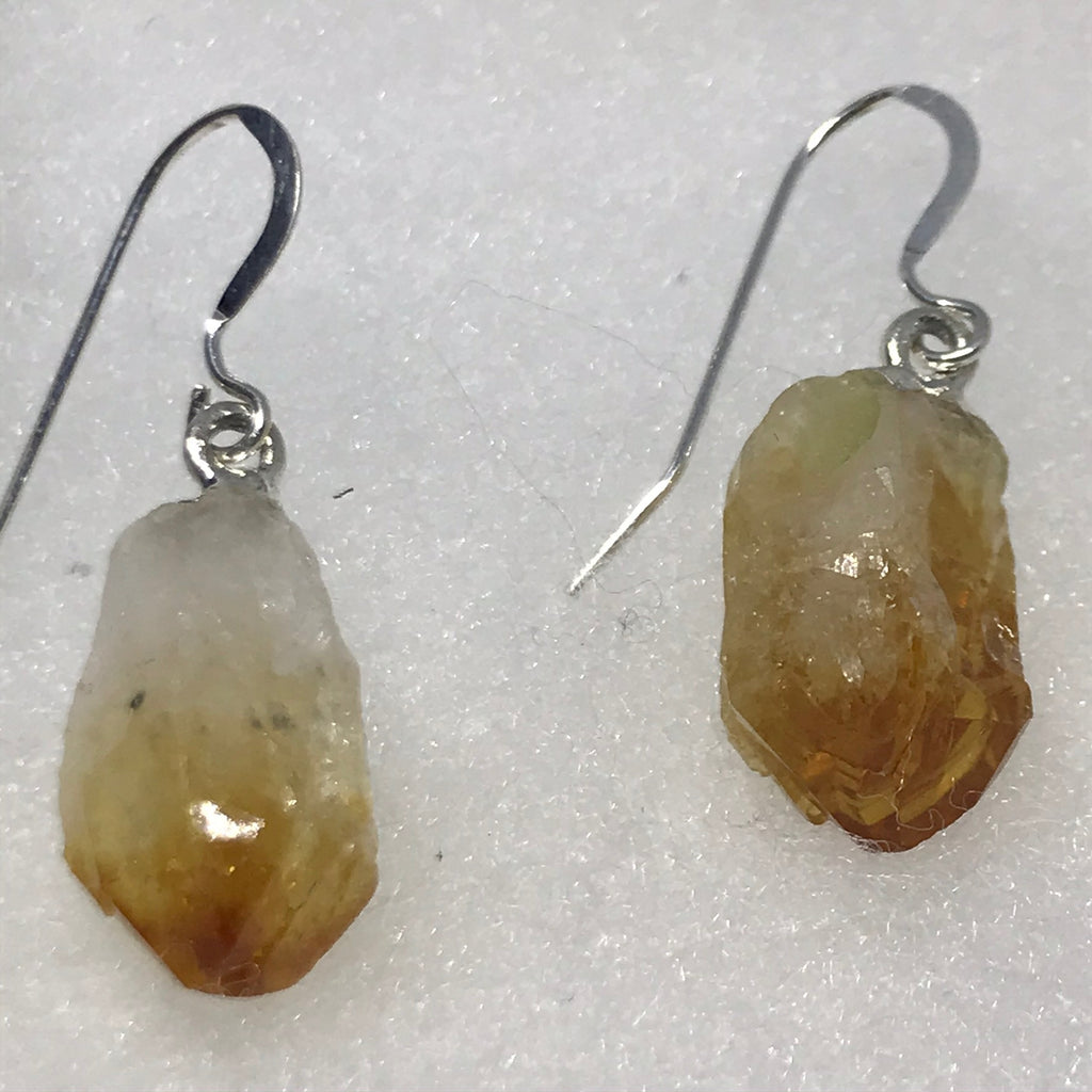 Citrine Nugget on a sterling silver ear wire