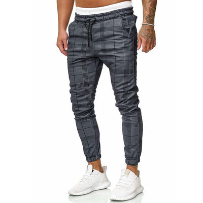 Men Slim Fit Plaid Joggers