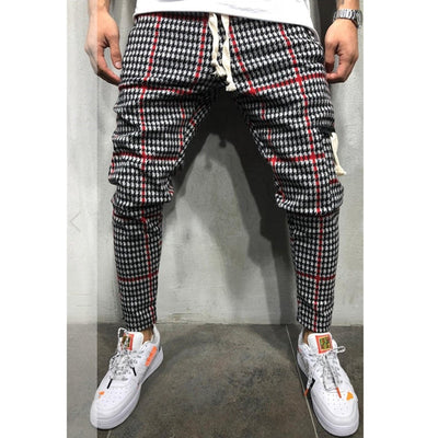 Men's Slim Fit Plaid Trousers