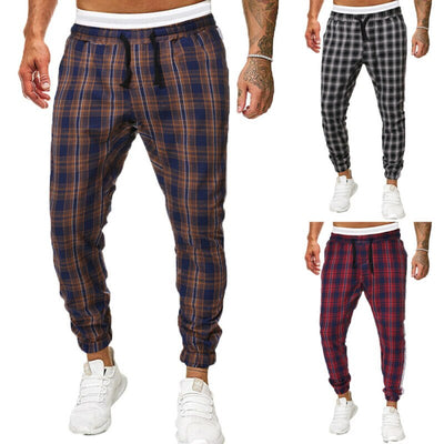 Men Plaid Loose Pants