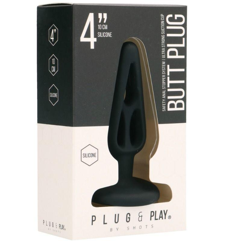 Shotsmedia Acuaticos Plug & Play - Hollow 2 Plug Anal 10 Cm - Black