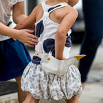 Child wearing Eperfa leather belt bag fox, white