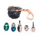 Eperfa wooden beetles set in mesh bag