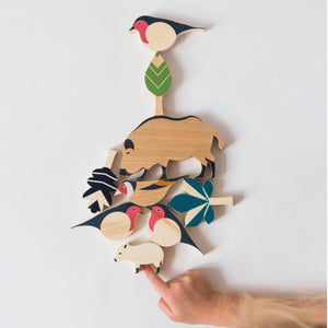 Eperfa wooden hillside animals set