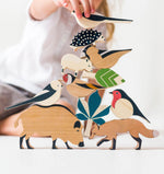 Child playing with Eperfa wooden hillside animals set