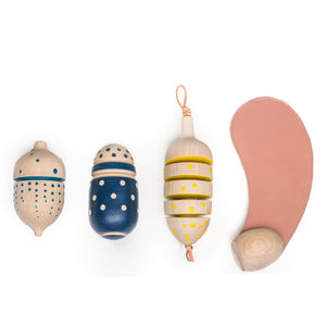 Eperfa wooden hillside fruit rattles and leather teether
