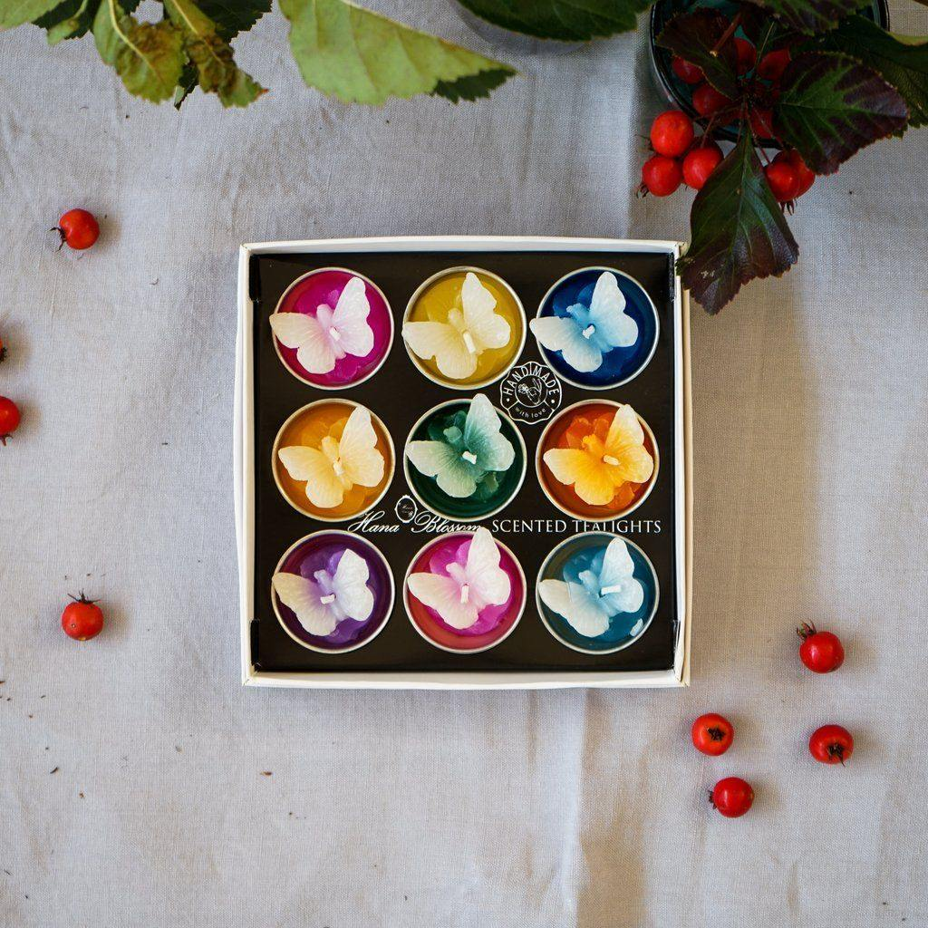 Big Assorted butterfly Scented Tealight Set Tealights Hana Blossom