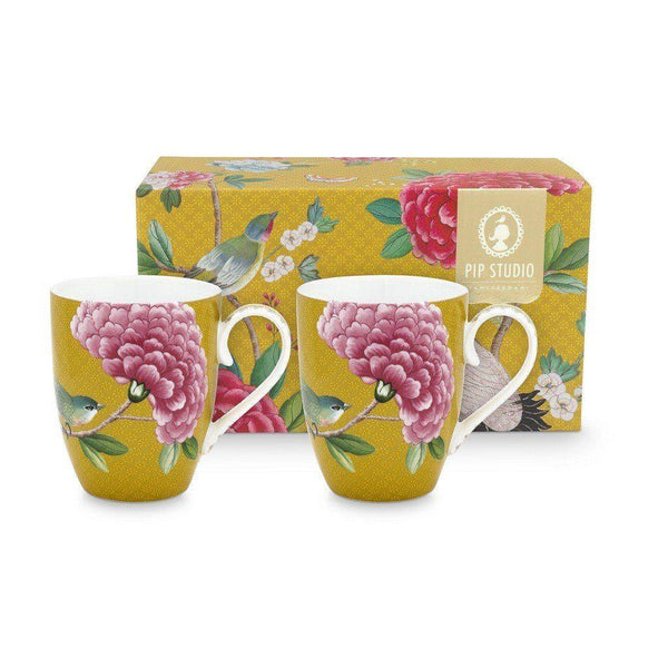 Blushing Birds Set/2 Large Yellow Mugs Infuser PiP Studio