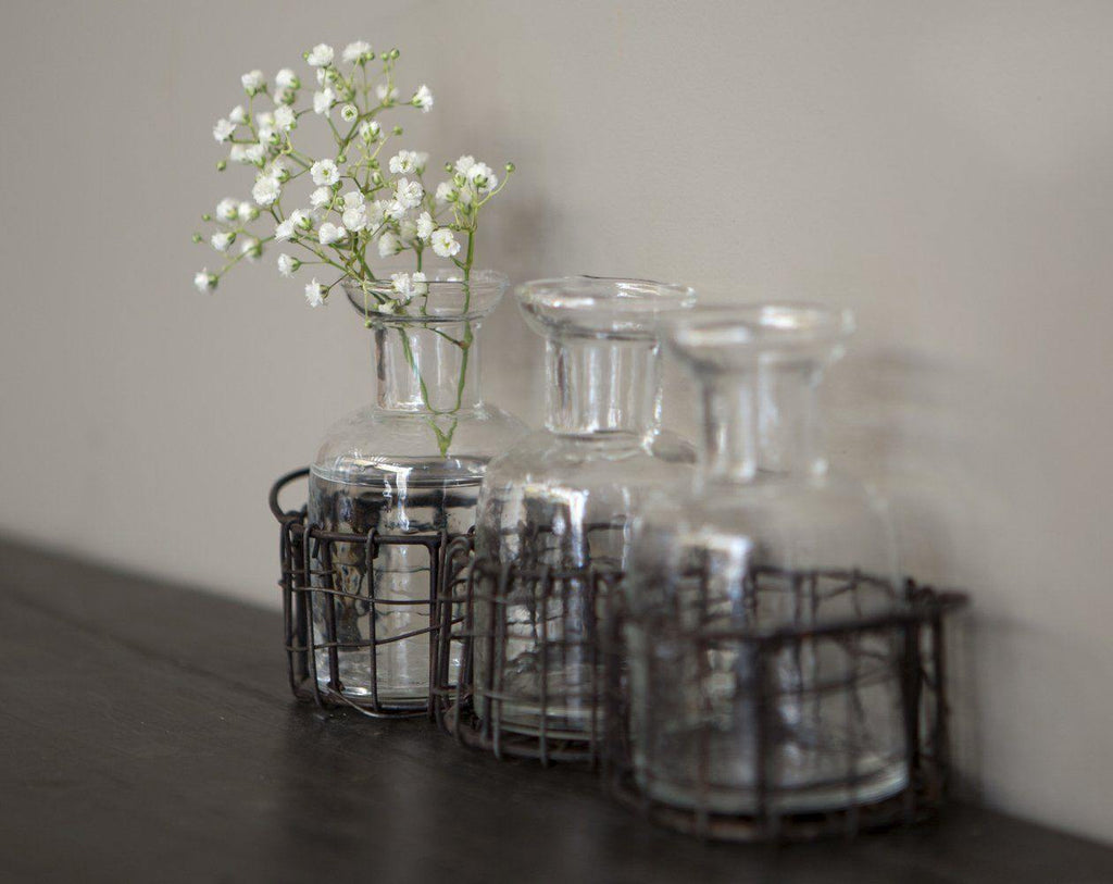 Bottles Set of 3 in Wire Basket Candle Holders London Garden