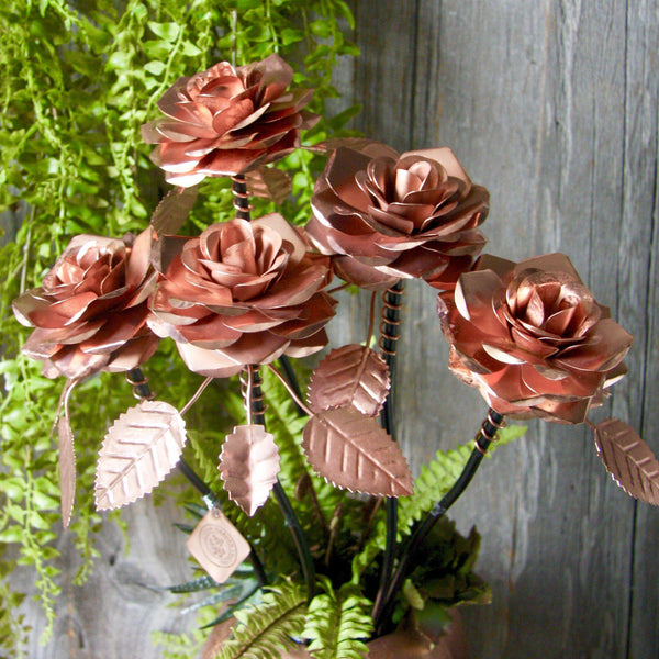 Copper Roses - Set of 5 HomeDecor London Gardens