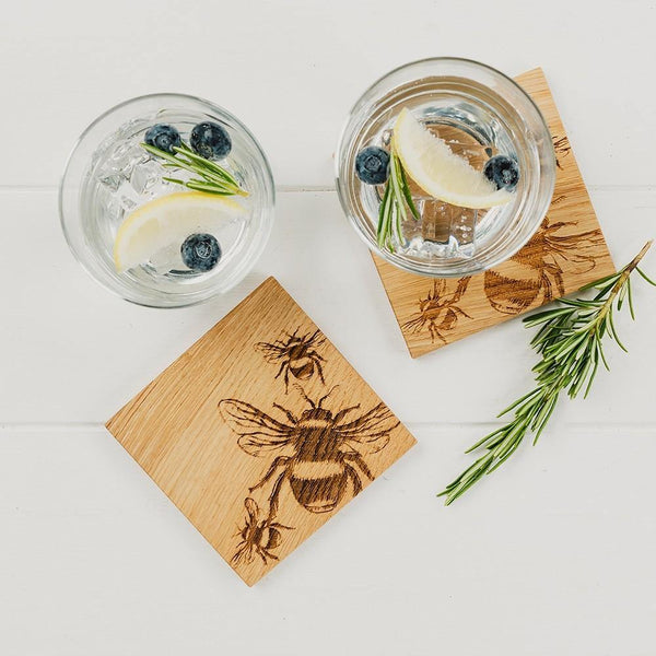 Etched Bee Oak Coasters - Set of 2 Tableware Selbrae House