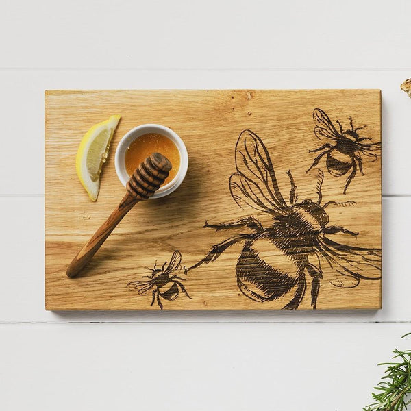 Etched Bees Oak Serving Board Tableware Selbrae House
