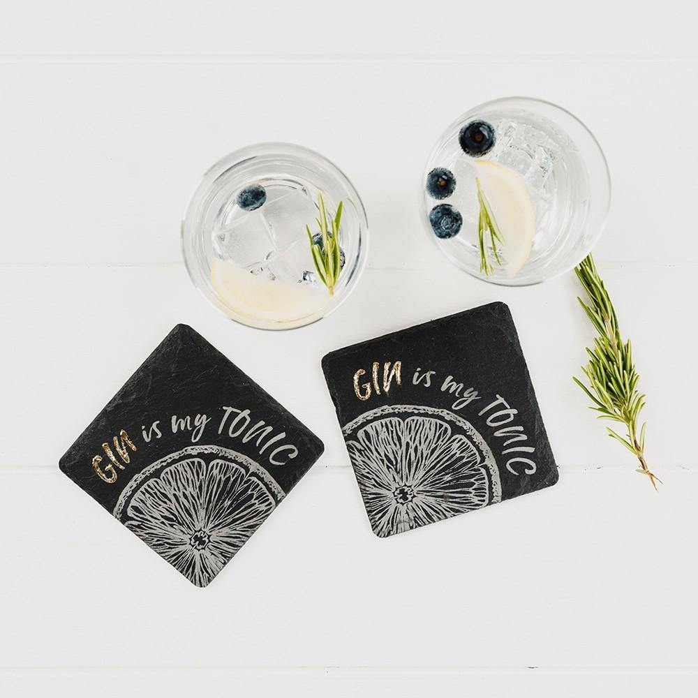 Etched Gin is my Tonic Oak Coasters - Set of 2 Tableware Selbrae House