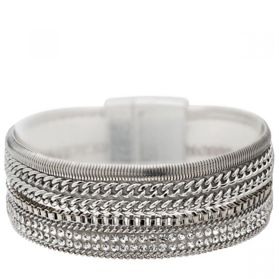 Eternal Rhodium Silver Crystal and Suede Multi-row Magnetic Bracelet Jewellery D&X Jewellery