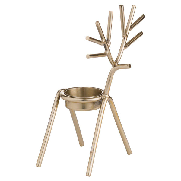 Gold Stick Reindeer Tea Light Holder Trays Hill Interiors