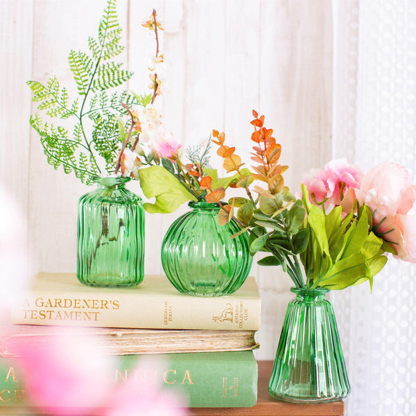 Green Glass Bud Vases - Set Of 3 HomeDecor Sass & Belle