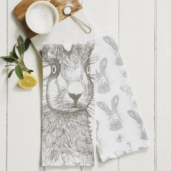 Hare with Bees & Butterflies Tea Towels Tea Towel Selbrae House